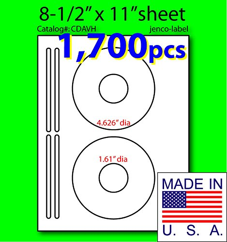 Jenco-Label Cdavh, 1,700 Half Face Cd/Dvd White Matte Laser Label