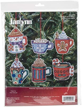 Set of 6 Christmas Cocoa Mug Ornaments Decorations Counted Cross Stitch Kit