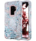Galaxy S9 Plus Case, S9+ Shiny Rose Gold Blue Gray Marble Case,BAISRKE Heavy Duty Hybrid 3-Layer Full-Body Protect Case Soft TPU & Hard Plastic Back Cover for Samsung Galaxy S9+ Plus (2018)