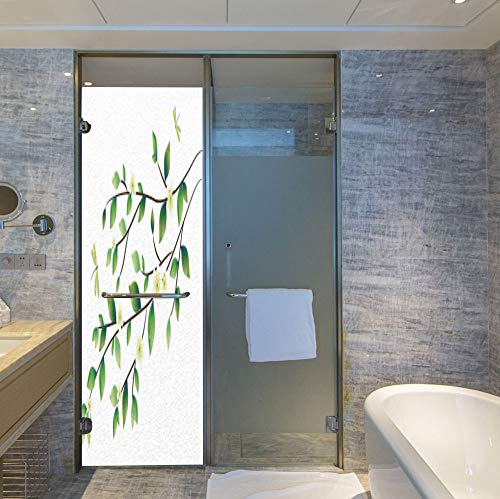Fly Fishing Stained Glass Window - YOLIYANA Frosted Window Film Stained Glass Window Film,Dragonfly,Work Well in The Bathroom,Leaves with Little Dragonflies and Jasmine Environmental Botanical,24''x78''