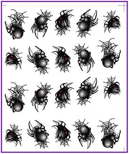 1 Pcs Black Spider Halloween Nails Art Sticker Water Decals Nail Stickers Girl Princess Acrylic Designs Predilection Popular Gel Polish Roll Foils Stencils Adhesive Snow Xmas Tool Tips ()