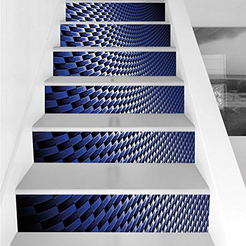 Stair Stickers Wall Stickers,6 PCS Self-adhesive,Dark Blue,Curvy Carbon Fiber Texture Image Abstract Industrial Modern Grid,Dark Blue Royal Blue White,Stair Riser Decal for Living Room, Hall, Kids Roo -