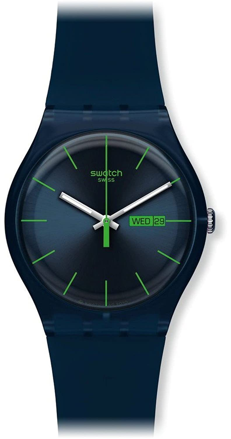 swatch menus suon quartz navy blue dial plastic date luminous watch swatch amazonca watches