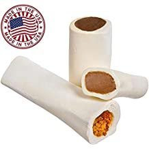 "Filled Dog Bones (Flavors: Peanut Butter, Cheese, Bacon, Beef, etc) Made in USA Stuffed Bulk 3 to 6"" Femur Dog Dental Treat & Chew, American Made (Variety Pack, Large (5-6"") - 3 Flavors)"