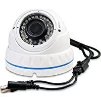 Evertech 1200 TVL 1.3 Megapixel 36 IR LED Color 2.8-12mm Wide Angle Zoom Vari-focal Lens Indoor & Outdoor Day & Night Metal White Security Surveillance Dome Camera