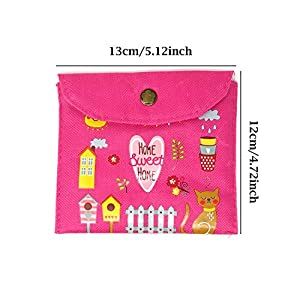 Honbay 2PCS Cute Cartoon Sanitary Napkin Cotton Bag Tampons Bag Storage Organizer Pouch for Women and Girls