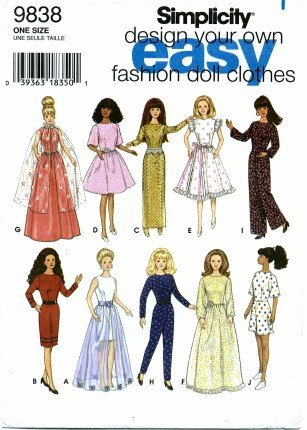 Amazon.com: Simplicity 9838 Sewing Pattern Fashion Doll Clothes ...