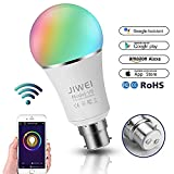 WiFi Smart Bulb, Alexa, Google Home : WIFI LED Hue Light, B22 RGBW 7W Colour Changing Timing Function, Remote Controlled by IOS/Android Devices, 60W Equivalent, No Hub Required, [Energy Class A+]- JIWEI