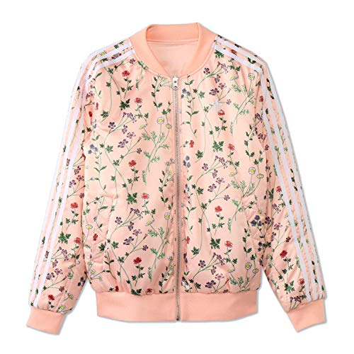 Reversible Adidas Jacket (adidas Originals Womens Love Set Reversible Satin Floral Bomber Jacket (M (US 10)))
