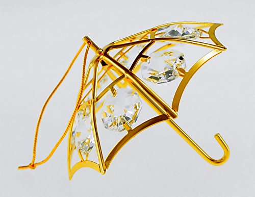 Umbrella 24k Gold Plated Metal Ornament with Clear Spectra Crystals by Swarovski