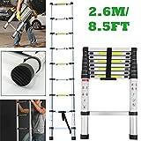 Autofather 2.6M 8.5FT Telescopic Ladder Portable Aluminum Extension Ladder Single Straight Multi-Purpose for Home Loft Office