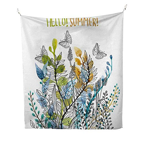 (Floralbeach Tapestry Wall hangingHello Summer with Watercolor Fern Branch Butterfly Harvest Season Paint 70W x 93L inch Dorm Room tapestryAmber Olive Green)