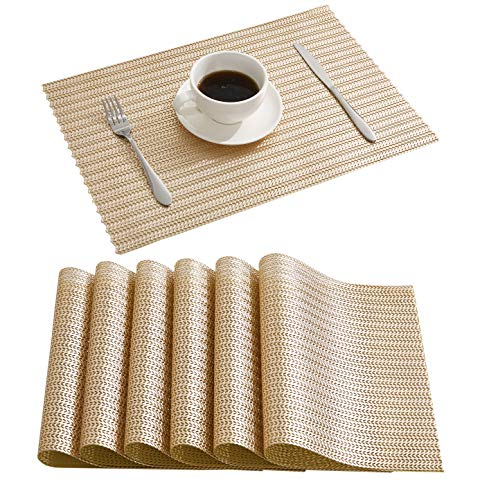 DOLOPL Place Mats Braid Placemats Non-Slip Hollow Out Table Mats Set of 6 for Dining Table Kitchen Restaurant Table in Gold