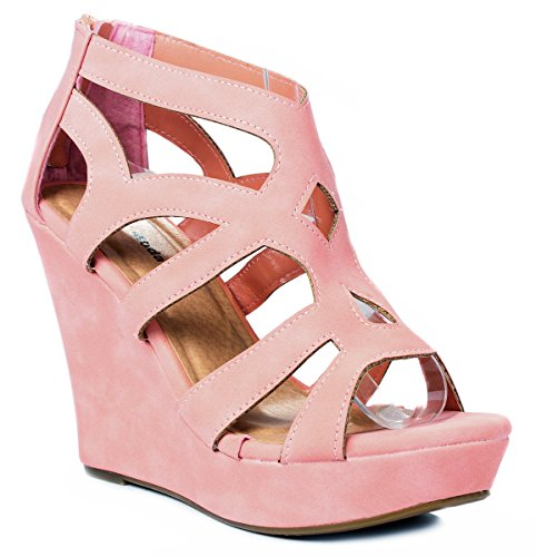 Women Ella15 Coral Strappy Cut Out Gladiator Roman Platform Comfort High Wedge Dress - Out Cut Coral