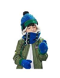 Triwonder Little Boys Girls Toddlers Winter Warm Fleece Flap Hat Scarf Mittens Set (L (6-12 years old), Blue)