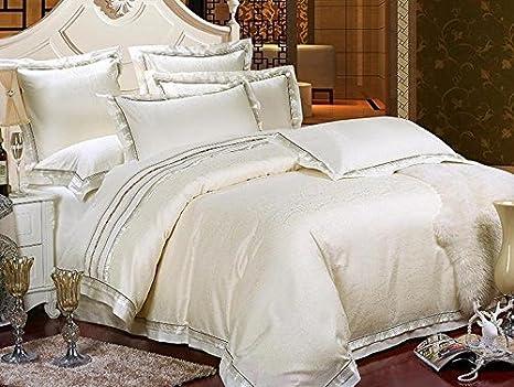 Copriletto Matrimoniale Di Lusso.Hotel Di Lusso Bianco Bedding Set Lenzuola In Cotone Satin