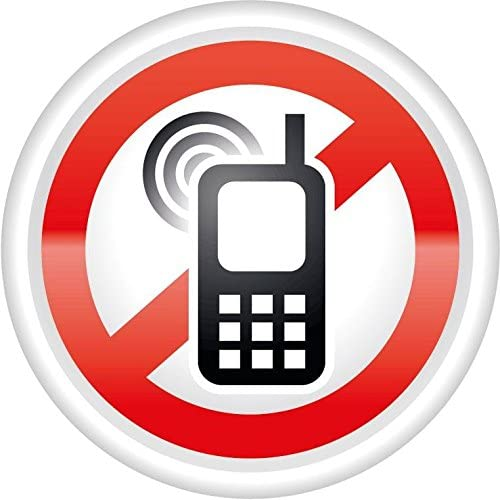"Ban Stop Sign No Mobile Phones Car Bumper Sticker Decal 5/"" x 5/"""