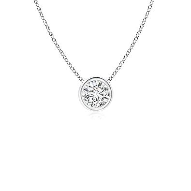 316b3be43 Bezel-Set Round Diamond Solitaire Pendant in Platinum (4.1mm Diamond)