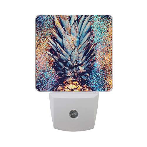 ALAZA Pineapple Shine Fashion LED Night Light Dusk to Dawn Sensor Plug in Night Home Decor Desk Lamp for Adult