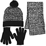 Boys 3 Piece Marled Pattern Knit Cuffed Pom Beanie Scarf & Gloves Set 3 Colors (Black)