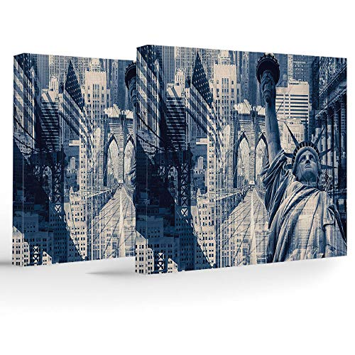 iPrint Canvas Print,United States,Wall Decorations for Home Living Room Bedroom Bathroom Lake House,Double Exposure Image of Statue of Liberty with New York Buildings - Lake Liberty House