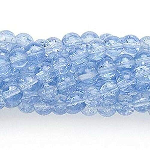 Wholesale 10 Strands Light Blue Crackle Glass 5-6Mm Round Beads