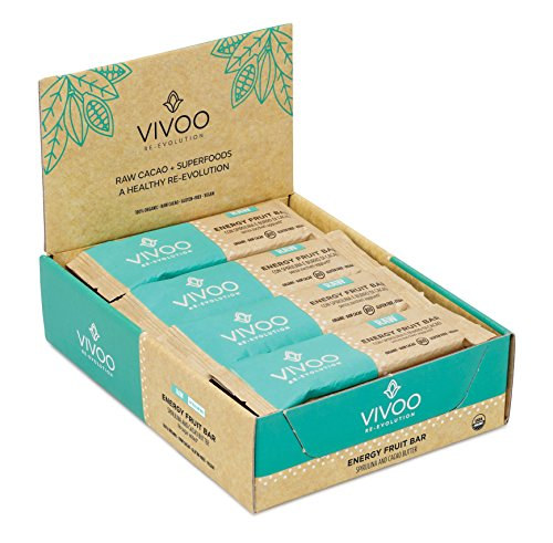 VIVOO Organic Raw Energy Spirulina & Cacao Butter Bars | No Added Sugar | Dairy-Free, Soy-Free, Gluten-Free | Non-GMO, Vegan, Kosher | Nutrient-rich in minerals & Fibre | Box of ()