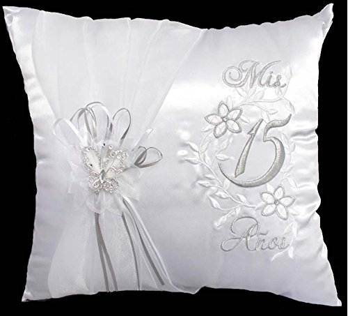 """Mis Quince Anos"" Quinceanera Embroidered White Pillow 2Pc Set Pair (# APILLOW1)"
