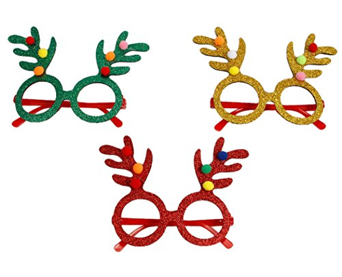 Christmas Glasses Frames,Funpa 3 Pack Glittered Eyeglasses with Antler Cute Reindeer Glasses Set No Lens for Kids Family Xmas Party Ornaments - Christmas Eyeglasses