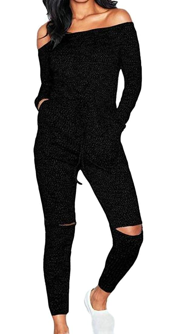 Cromoncent Womens Casual Off Shoulder Long Sleeve Solid Color Rompers Jumpsuits