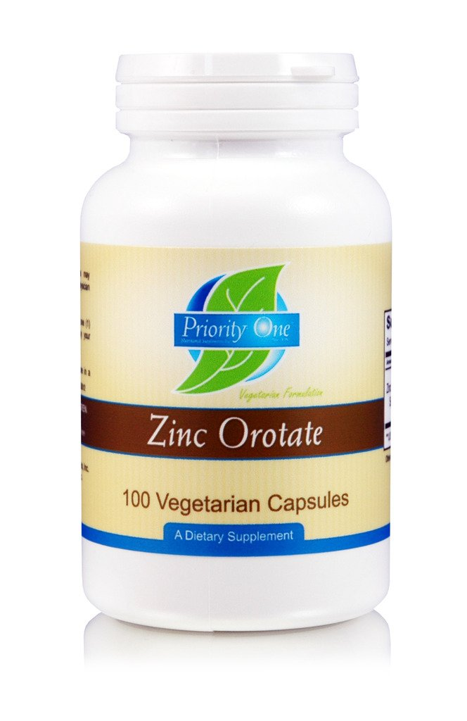 Priority One Vitamins Zinc Orotate 100 Vegetarian Capsules - High Absorption, high Quality, bioavailable zinc - Supporting a Health Immune System.*
