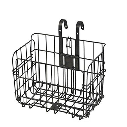 AKAUFENG Wire Mesh Bike Basket with Holder, Mesh Bottom (Black)