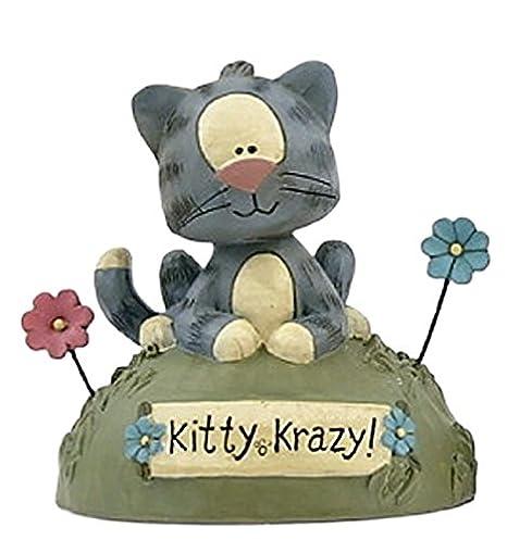 Amazon.com: blossom bucket gris gato atigrado en césped y ...
