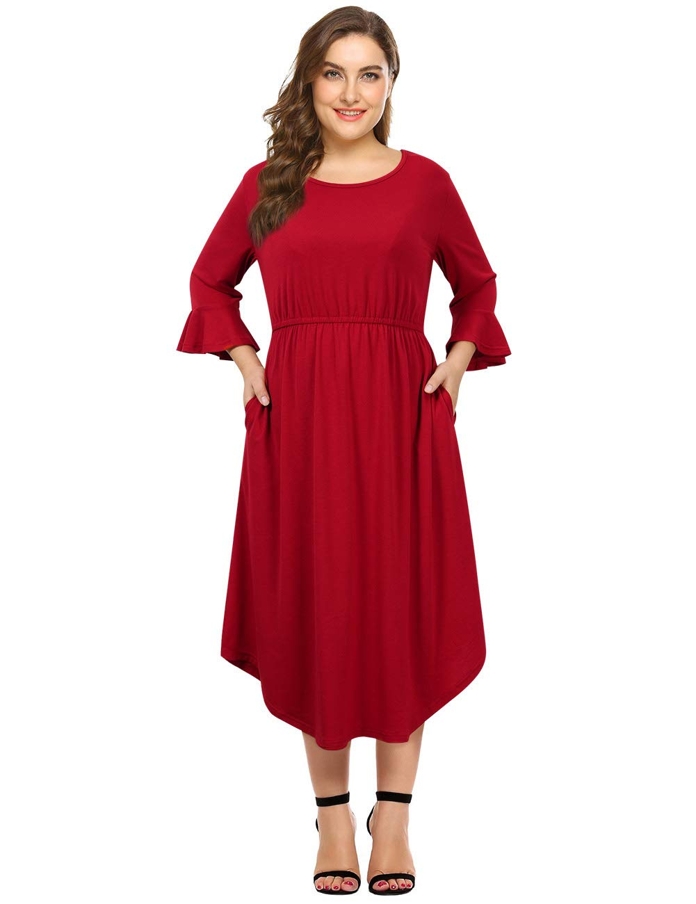 222a1e79530 Clearlove Women s Plus Size Bell Sleeve Casual Hi Low Maxi Dress with  Pockets Burgundy 4XL