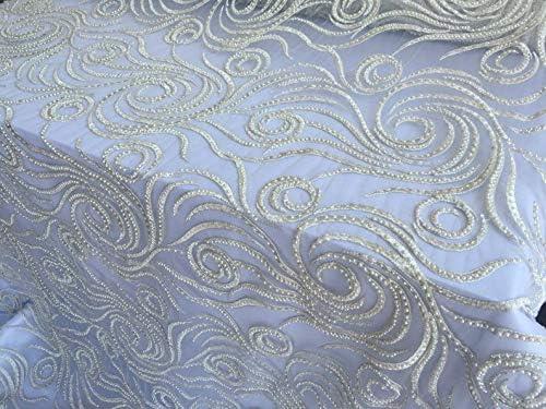 Ivory Design Embroider Beaded Mesh Dress Wedding Decoration Bridal Veil Nightgown by Yard