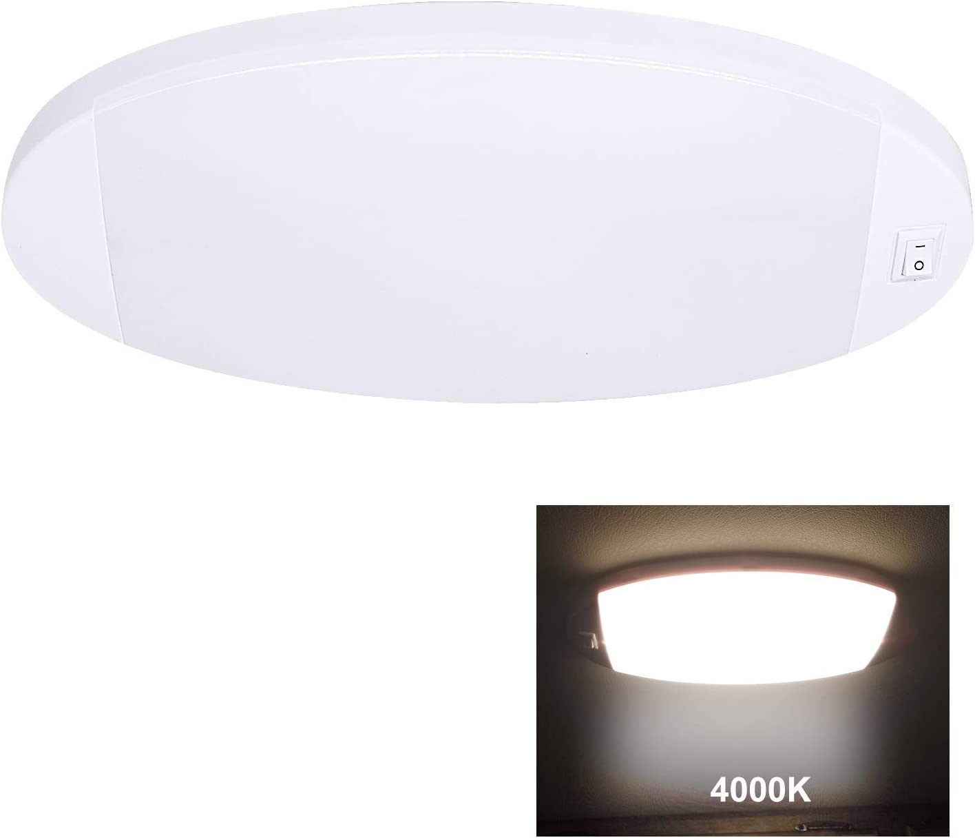 Facon LED 12V Bright Pancake Light Interior Ceiling Dome Light 6W 470 LM with On//Off Switch upgrated 4000K Cool White Light