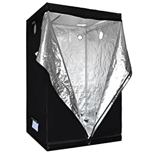 Reflective Mylar Indoor Hydroponic Grow Tent: 48x48x78 Inch (4ft x 4ft x 6.5ft)