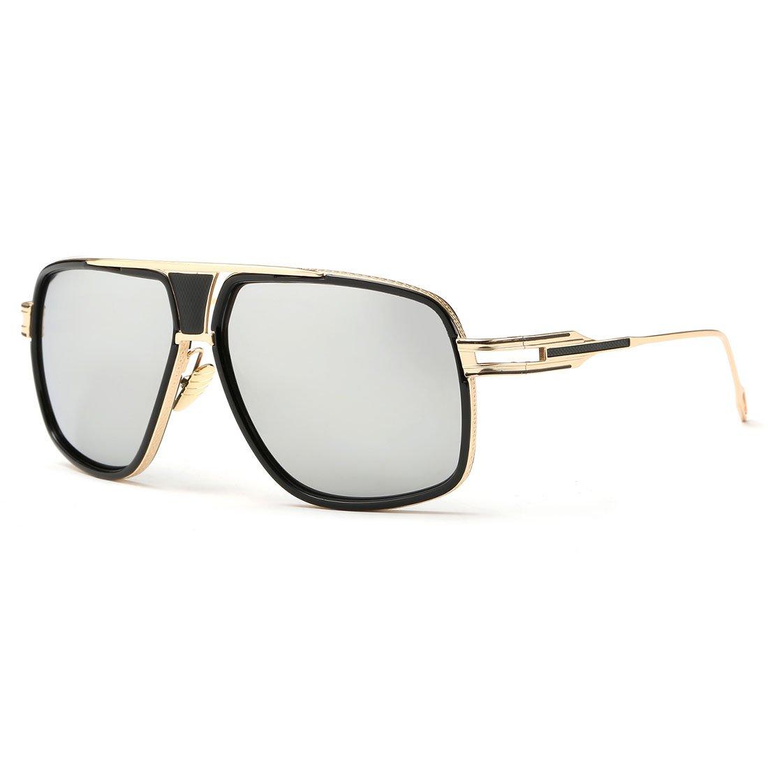 kimorn Sonnenbrille für Herren Retro Goggle Metallrahmen Classic Eyewear AE0336 62) k0336-7