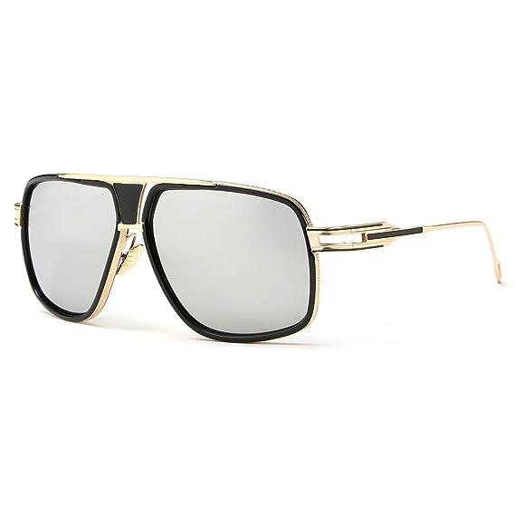 Kimorn Lunettes de soleil pour hommes Retro Goggle Métal Cadre Lunettes Classiques AE0336 (Or&Argent, 62)