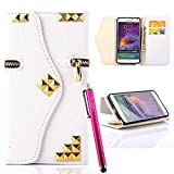 S4 Case, JCmax Stitching Color Premium [Zipper Style] Wallet PU Leather Stand Case With Card Slot, Magnetic Closure and Wrist Strap For Samsung Galaxy S4