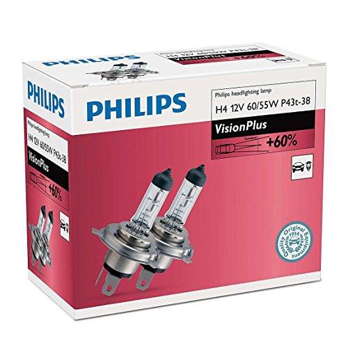 (PHILIPS H4 12V 60/55W P43t-38 VisionPlus Car Headlight Bulbs 60% more light Twin)