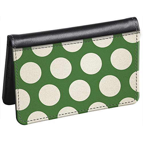 Snaptotes Slim Leather Accent Green Polka Dot ID Card Wallet