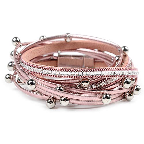 Leather Cuff Bracelet for Women - Boho Beads Wrap Clasp Bangle Bracelet Leather Wristbands Birthday Gifts for -