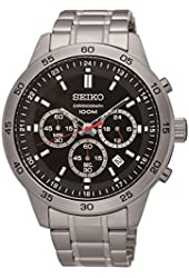 Seiko #SKS519 Men's Stainless Steel Black Dial Chronograph Analog Sports Watch