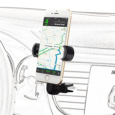 Okitry Phone Holder for Car, Air Vent Car Mount Holder, Car Accessories for iPhone 7 7 Plus/ 6s Plus/6s/6 5s 5, Samsung Galaxy, Nexus, LG, HTC and More, Black&Grey