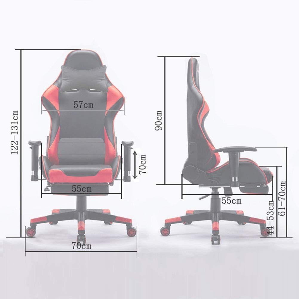 JFSKD TV-spelstolar, datorstol, 360° svängbar höjd justerbar vilande PU läder PC-stol med fotstöd och ryggkudde Röd Röd