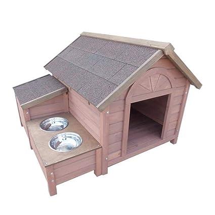 YAMEIJIA Casa de Perro de Madera Maciza al Aire Libre Mascota casa Perro casa Perro casa