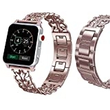 Sundo Cowboy Style Premium Stainless Steel Metal Chain Band with adapter for Apple Watch Series 3 Series 2 Series 1 (rosegold 38mm)