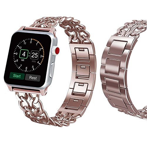 Sundo Cowboy Style Premium Stainless Steel Metal Chain Band with adapter for Apple Watch Series 3 Series 2 Series 1 (rosegold 38mm) by Sundo