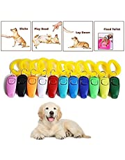 URBEST 10 Pack 2 in 1 Pet Training Clickers, Whistle and Clicker Pet Training Tools with Wrist Strap,Train Dog, Cat, Horse, Pets (10 PCS (2 in 1), Multi-Colors)
